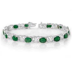 12.05 CTW Emerald & Diamond Bracelet 14K White Gold - REF-106F2N - 11218