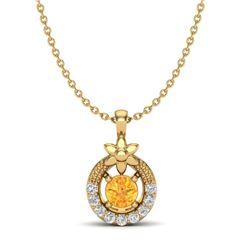 0.20 CTW Citrine & Micro Pave VS/SI Diamond Halo Necklace 18K Yellow Gold - REF-22W8F - 20362