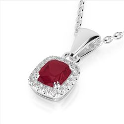 1.25 CTW Ruby & Micro Pave VS/SI Diamond Halo Necklace 10K White Gold - REF-31N8Y - 22888