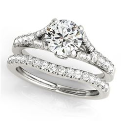 1.06 CTW Certified VS/SI Diamond Solitaire 2Pc Wedding Set 14K White Gold - REF-96A5X - 31742