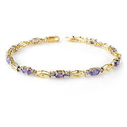 2.10 CTW Tanzanite Bracelet 10K Yellow Gold - REF-31K3W - 14262