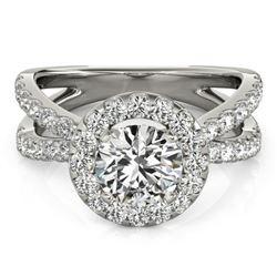 2.01 CTW Certified VS/SI Diamond Solitaire Halo Ring 18K White Gold - REF-424W8F - 26769