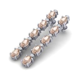 12.47 CTW Morganite & VS/SI Certified Diamond Tennis Earrings 10K White Gold - REF-153M8H - 29483
