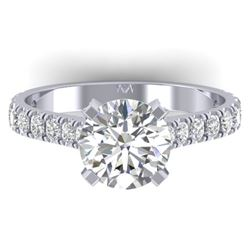 2.4 CTW Certified VS/SI Diamond Solitaire Art Deco Ring 14K White Gold - REF-674F2N - 30441