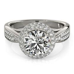 1.65 CTW Certified VS/SI Diamond Solitaire Halo Ring 18K White Gold - REF-400K2W - 27006