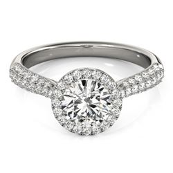 1.4 CTW Certified VS/SI Diamond Solitaire Halo Ring 18K White Gold - REF-380T2M - 26185