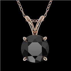 1 CTW Fancy Black VS Diamond Solitaire Necklace 10K Rose Gold - REF-26K3W - 33186