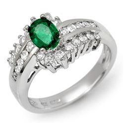 1.45 CTW Emerald & Diamond Ring 18K White Gold - REF-84M2H - 11889