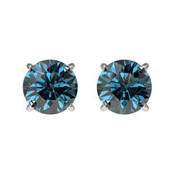 1 CTW Certified Intense Blue SI Diamond Solitaire Stud Earrings 10K White Gold - REF-87F2N - 33055