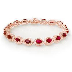 12.75 CTW Ruby Bracelet 14K Rose Gold - REF-150T4M - 11691