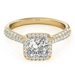 1.15 CTW Certified VS/SI Princess Diamond Solitaire Halo Ring 18K Yellow Gold - REF-163F6N - 27095