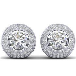 1.75 CTW Certified VS/SI Diamond Art Deco Micro Halo Stud Earrings 14K White Gold - REF-207F6N - 304