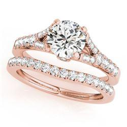 1.56 CTW Certified VS/SI Diamond Solitaire 2Pc Wedding Set 14K Rose Gold - REF-213F5N - 31749