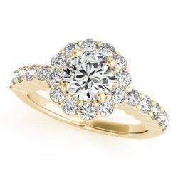 1.75 CTW Certified VS/SI Diamond Solitaire Halo Ring 18K Yellow Gold - REF-408M4H - 26846