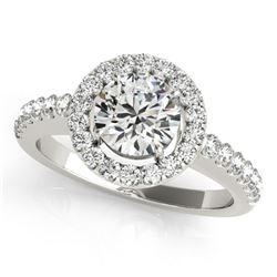 0.76 CTW Certified VS/SI Diamond Solitaire Halo Ring 18K White Gold - REF-128K8W - 26326