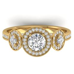 1.25 CTW Certified VS/SI Diamond Art Deco 3 Stone Micro Halo Ring 14K Yellow Gold - REF-134Y5K - 303