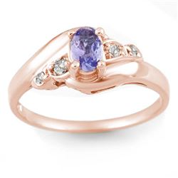 0.42 CTW Tanzanite & Diamond Ring 14K Rose Gold - REF-24W2F - 10439