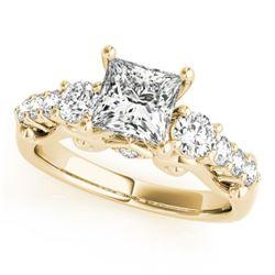 1.75 CTW Certified VS/SI Diamond 3 Stone Princess Cut Ring 18K Yellow Gold - REF-447K8W - 27998