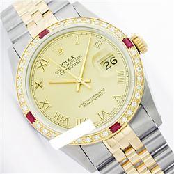 Rolex Men's Two Tone 14K Gold/SS, QuickSet, Roman Dial & Diam/Ruby Bezel - REF-533Y5X