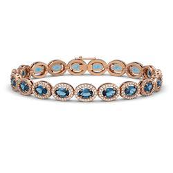14.82 CTW London Topaz & Diamond Halo Bracelet 10K Rose Gold - REF-232Y5K - 40488