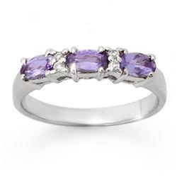 0.82 CTW Tanzanite & Diamond Ring 10K White Gold - REF-22Y8K - 13945