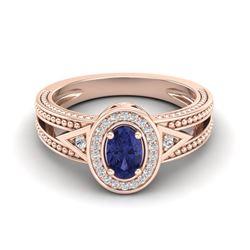 0.58 CTW Tanzanite & VS/SI Diamond Designer Solitaire Halo Ring 10K Rose Gold - REF-27A6X - 20843