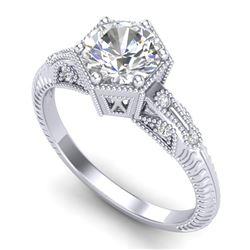 1.17 CTW VS/SI Diamond Solitaire Art Deco Ring 18K White Gold - REF-381N8Y - 37214