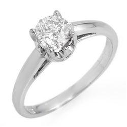 0.80 CTW Certified VS/SI Diamond Solitaire Ring 18K White Gold - REF-244K9W - 11148