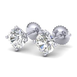 2 CTW VS/SI Diamond Solitaire Art Deco Stud Earrings 18K White Gold - REF-591N2Y - 37304