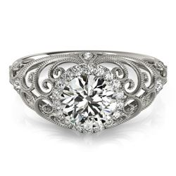 1.22 CTW Certified VS/SI Diamond Solitaire Halo Ring 18K White Gold - REF-387W5F - 26554