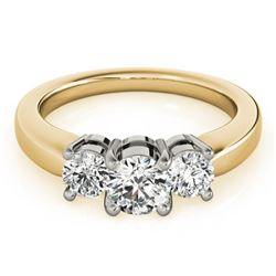 0.75 CTW Certified VS/SI Diamond 3 Stone Ring 18K Yellow Gold - REF-128T5M - 28064