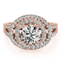1.75 CTW Certified VS/SI Diamond Solitaire Halo Ring 18K Rose Gold - REF-438X4T - 26926
