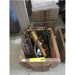 Crate with Brass Extinguisher, Iron Decor & More