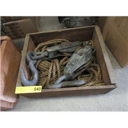 Crate of Vintage Pulleys & Rope