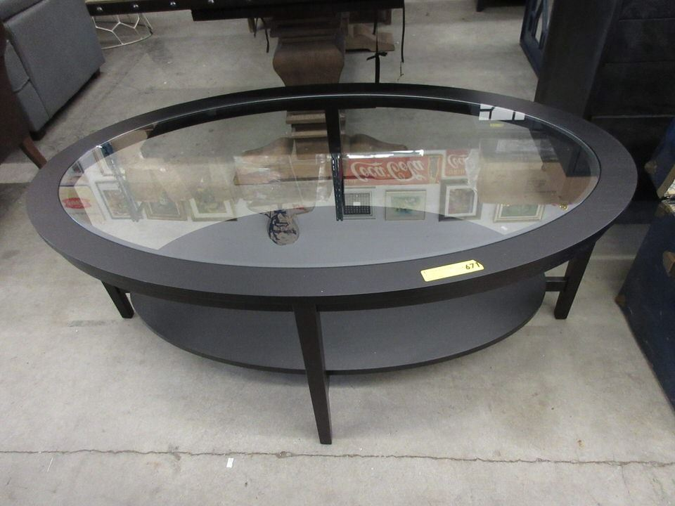 New Glass Top Oval Coffee Table With Shelf
