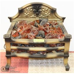 ANTIQUE MAGICOAL ELECTRIC FIREPLACE W/ AMBER GLASS