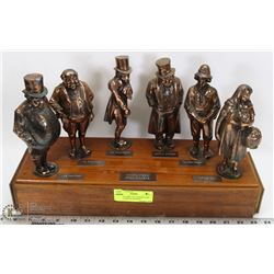 ANTIQUE DISPLAY 6 CHARACTERS FROM CHARLES DICKENS