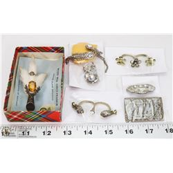 BOX OF JEWELRY INCL ANTIQUE SCOTTISH KILT PIN