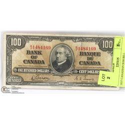 1937 CANADIAN $100 BILL.