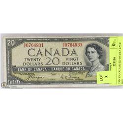 1954 CANADIAN $20 DEVILS FACE BILL.