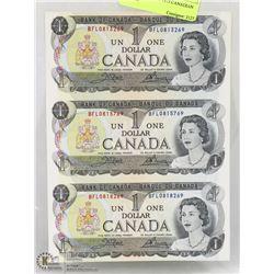 SHEET OF 3 UNCUT 1973 CANADIAN $1 BILLS.