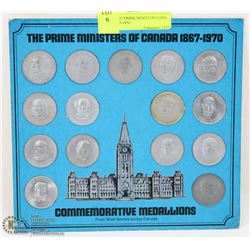 CARD OF 15 PRIME MINISTER COINS FROM 1867-1970.