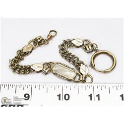 "HEAVY LINK 10"" GOLD FILLED POCKET WATCH CHAIN ONLY"