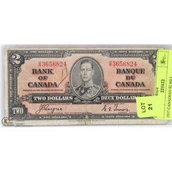 1937 CANADIAN $2 BILL.