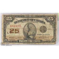 1923 CANADIAN SHINPLASTER