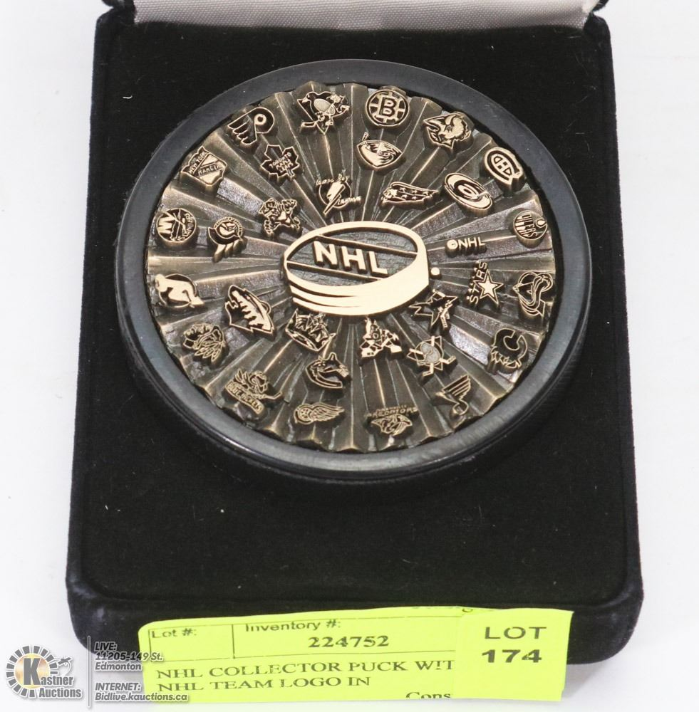 best website a78bc 85ce8 NHL COLLECTOR PUCK WITH EVERY NHL TEAM LOGO IN