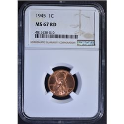 1945 LINCOLN CENT, NGC MS-67 RED