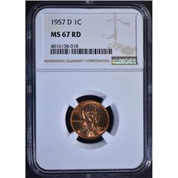 1957-D LINCOLN CENT, NGC MS-67 RED