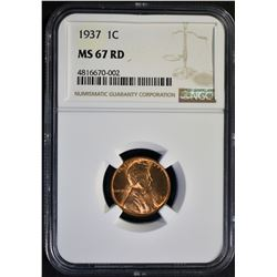 1937 LINCOLN CENT, NGC MS-67 RED