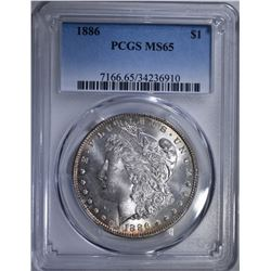 1886 MORGAN DOLLAR, PCGS MS-65